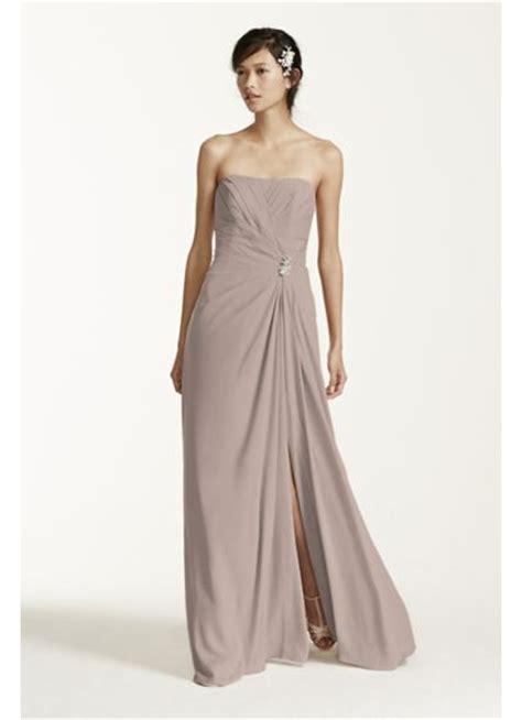 Sale Longdres Crep Kotak strapless crepe dress with brooch davids bridal