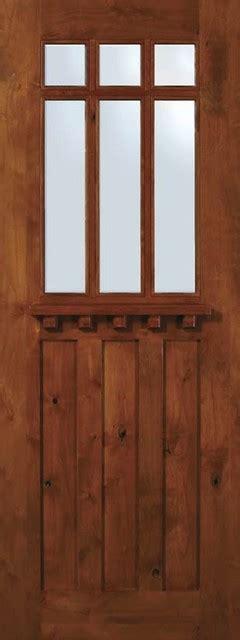 Slab Exterior Doors Slab Exterior Single Door 96 Alder Craftsman 3 Panel 6 Lite Tdl Glass Craftsman Front Doors