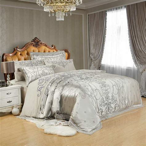 Jacquard Bed Set Aliexpress Buy Gray Embroidery Satin Silk Jacquard Bedding Set Home Textile 4pcs Luxury
