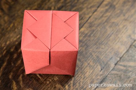 Origami Paper Box - origami hinged box tutorial paper kawaii