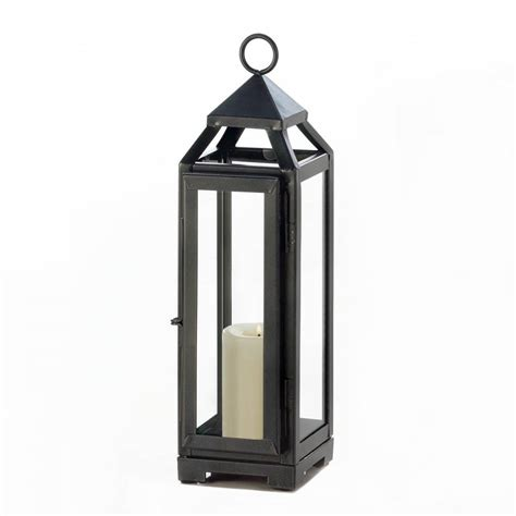 candle lantern decor outdoor rustic iron tall slate black