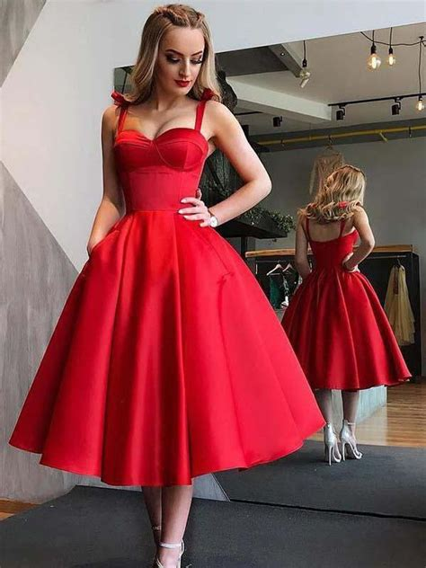 red homecoming dresses   vintage tea length prom