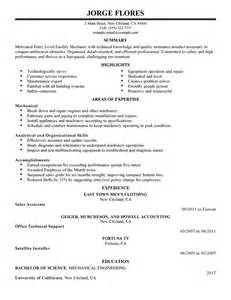 entry level mechanic resume exle maintenance