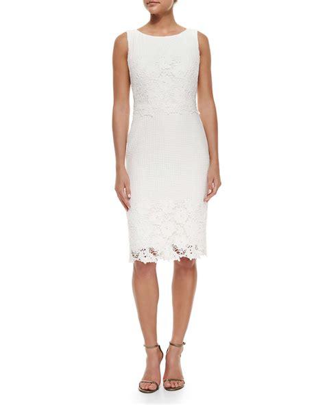 Sleeveless Lace Sheath Dress badgley mischka sleeveless lace sheath dress in white lyst