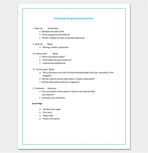 5 paragraph essay outline template biography outline template 15 formats sles and exles