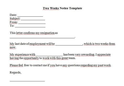 2 week notice letter template 5 free two weeks notice letter templates word excel