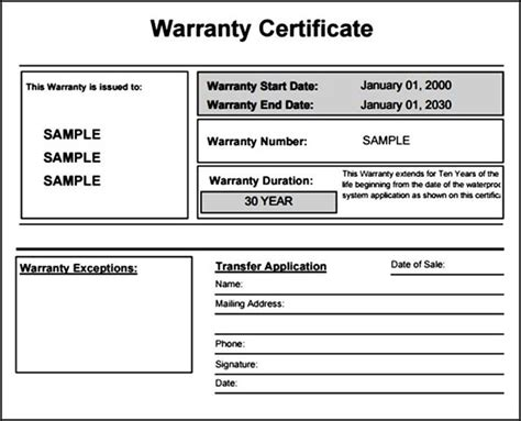 warranty certificate for product sle templates
