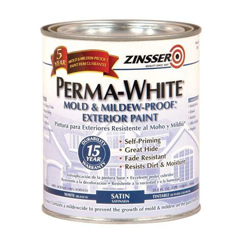 home depot exterior paint quart zinsser 1 qt perma white mold and mildew proof white