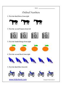 kidz worksheets kindergarten ordinal numbers worksheet2