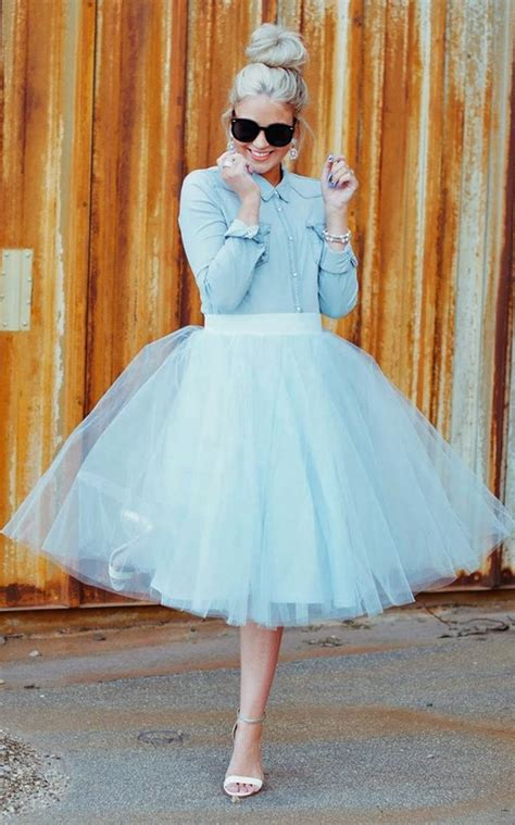 Light Blue Tulle Midi Skirt Dress Ala