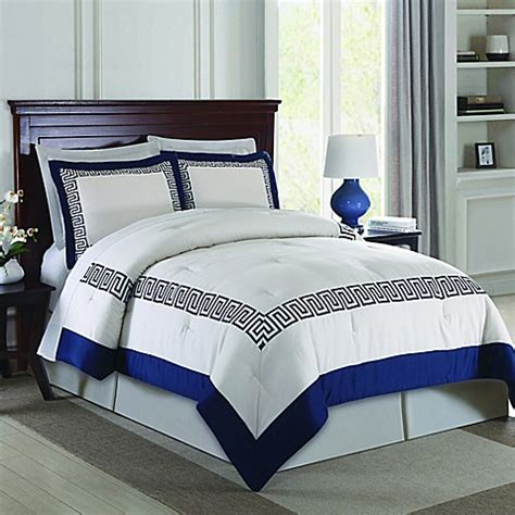 buy greek key 3 piece queen comforter set in navy from bed
