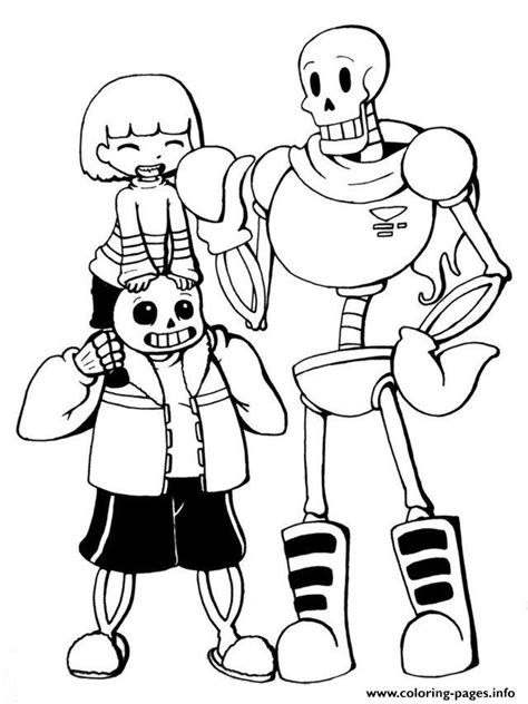 coloring pages undertale print undertale trio frisk sans and papyrus by chiherah
