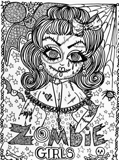creepy coloring pages adults halloween fille zombie halloween coloriages difficiles