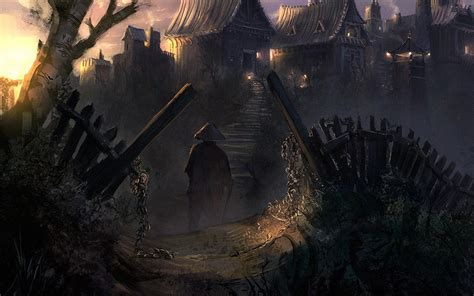 dark village wallpaper china village art cities dark fantasy people weapon sword
