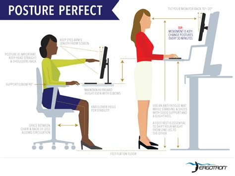 proper standing desk posture posture perfect ergonomics of a sit to stand desk