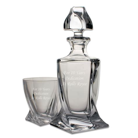 Engraved Vase Balmoral Quadro Engraved Whisky Decanter Set