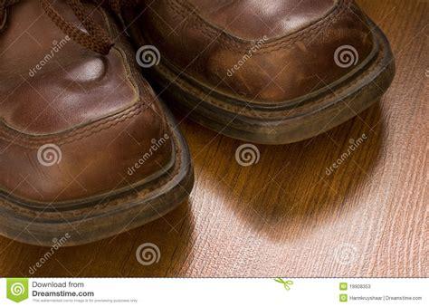 worn leather shoes closeup stock photos image 19908353