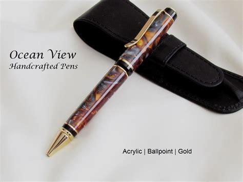 Handmade Acrylic Pens - handmade acrylic molten metal ballpoint cigar pen in gold