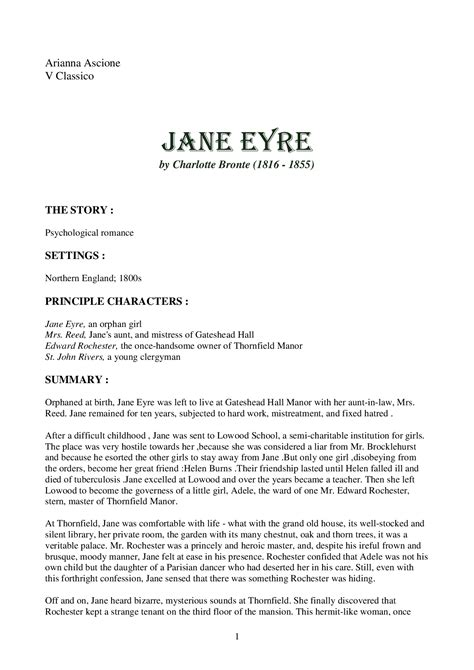 analysis jane eyre pdf letteratura inglese jane eyre by charlotte bronte docsity