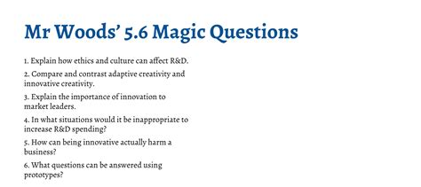 any section 8 list open ib business management magic questions section 5