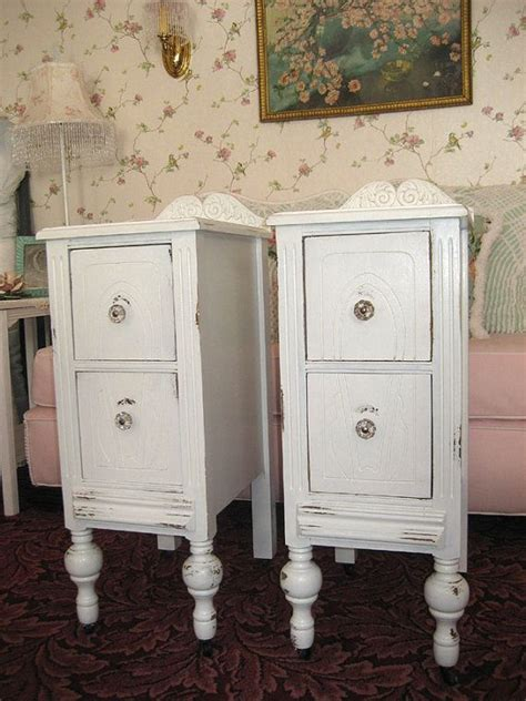 pair vintage white shabby chic nightstands end tables
