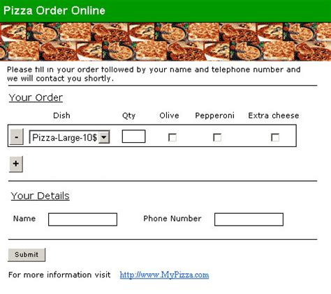 pizza order form template order form formlogix manual