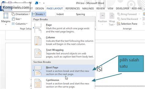 cara membuat halaman di word 2013 tanpa cover tip word cara membuat page number yang dimulai dari