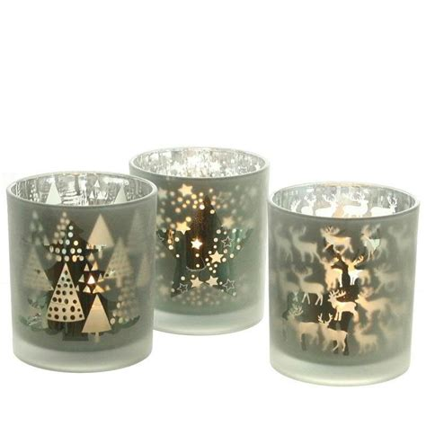 teelichter glas glas teelichter antikgr 252 n gold 10 cm weihnachtsmotive