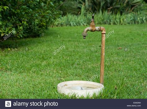 Tap Outdoor 8 Way outdoor garden tap with water bowl stock photo