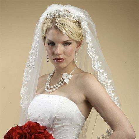 hairstyles with mantilla veil lace embroidered mantilla wedding veil in white ivory or