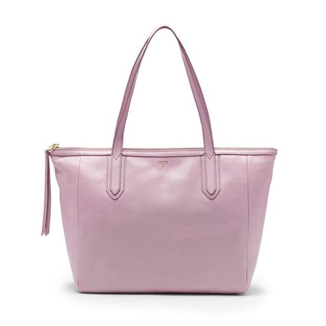N6 Fossill Classic Shopper Tote Bag Smooth Leather 2777 04 fossil sydney shopper zb5487 tote in lavender 168 via