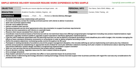 service delivery manager cover letter service delivery resume