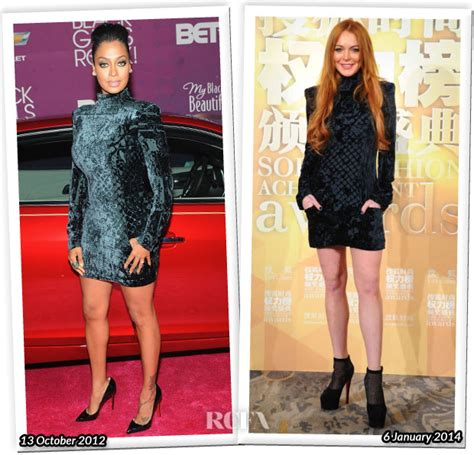 Who Wore It Better Carpet Style Awards 3 by Who Wore Balmain Better Lala Anthony Or Lindsay Lohan