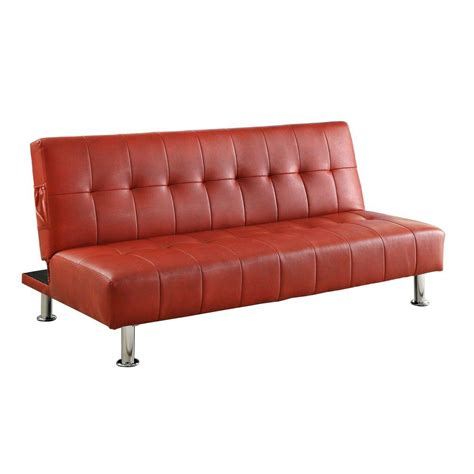 futon red venetian worldwide bulle red leatherette futon cm2669p rd