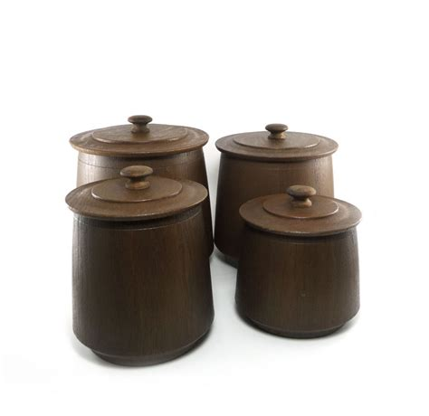 vintage faux wood canister set chocolate brown roast