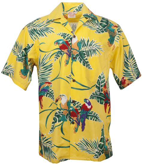 aloha shirt go barefoot tropical birds hawaiian aloha shirt in yellow