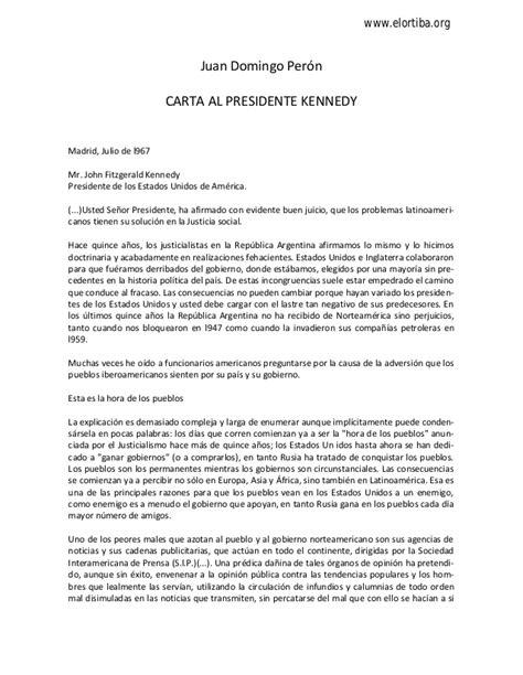 Juan Domingo Perón carta al presidente kennedy