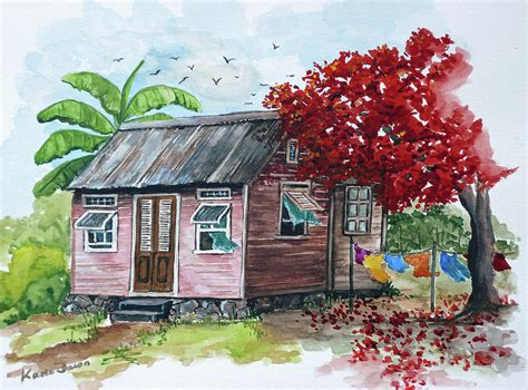 house portrait artist caribbean house painting by karin dawn kelshall best