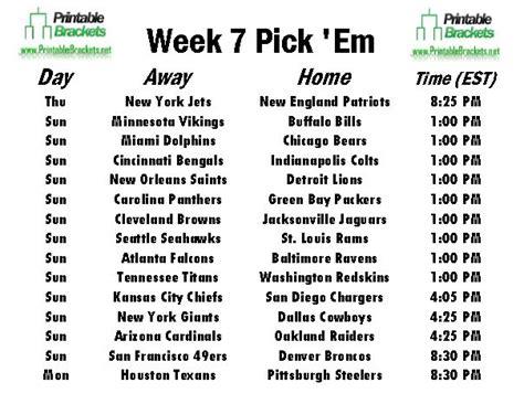 printable nfl schedule for week 7 nfl pick em week 7 pro football pick em week 7