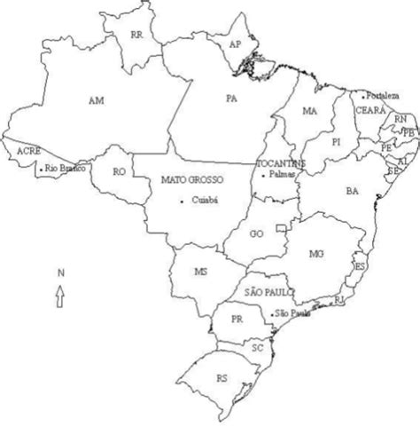 map of brazil states brazil map states and cities