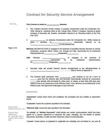 security services contract template service agreement 9 free pdf word documents
