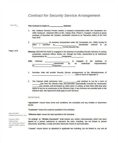 security company contract template service agreement 9 free pdf word documents