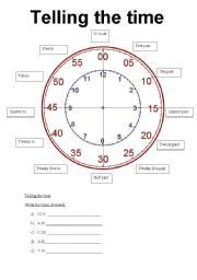 english worksheet telling time
