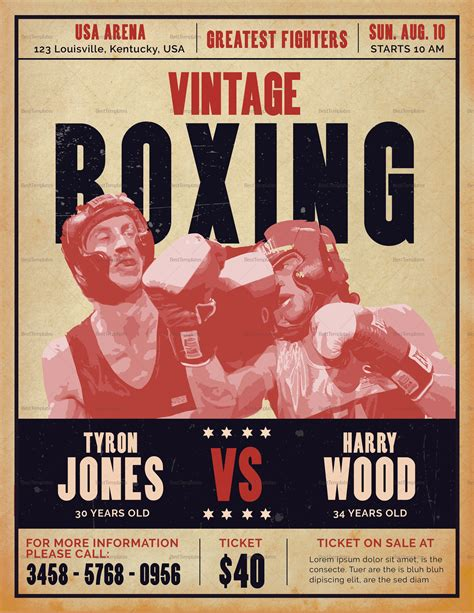 vintage boxing poster template vintage boxing flyer design template in psd word