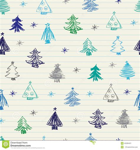 pattern of christmas tree christmas tree doodles pattern stock vector image 45289401