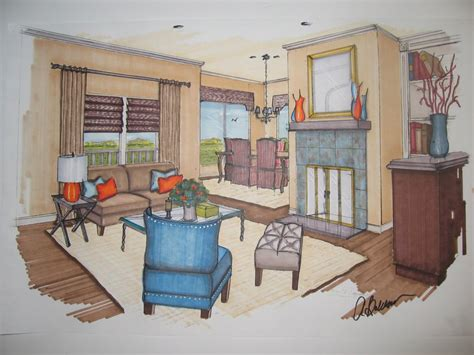 Marker Rendering Interior Design interior design marker renderings s colorful
