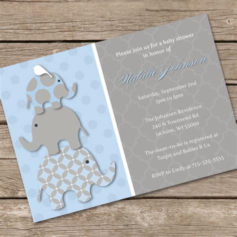4 plain baby elephant baby shower invitations eysachsephoto