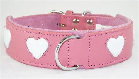 cheap collars wholesale pink leather collar with white hearts design small to large dogs