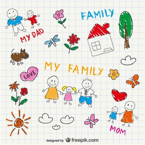 doodle sketch vectors free vector family sketch drawing vector free
