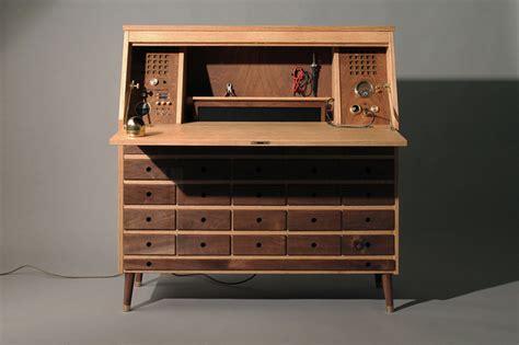 work bench desk beautiful wooden workbench hides a pc maker s desk technabob